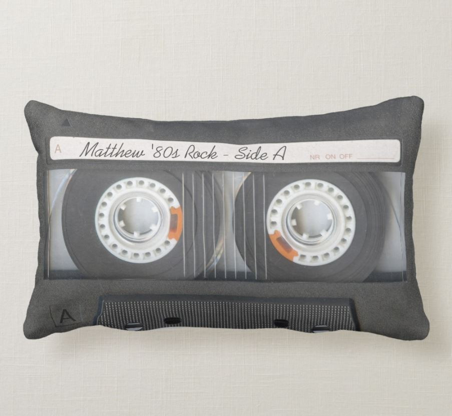 Retro 80s Mixtape Throw Pillow With Custom Text