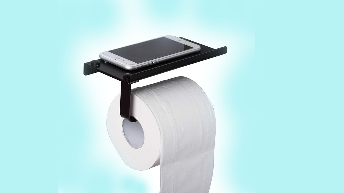 Cool Toilet Roll Holder With Smartphone Shelf
