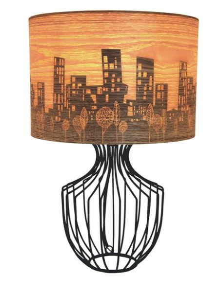 Cool City Skyline Table Lamp With Timber Veneer Shade