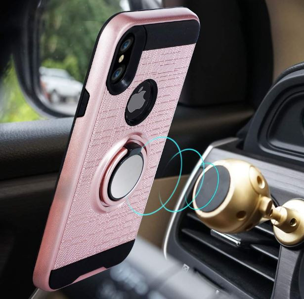 Rotating Ring Grip Kickstand Case For iPhone