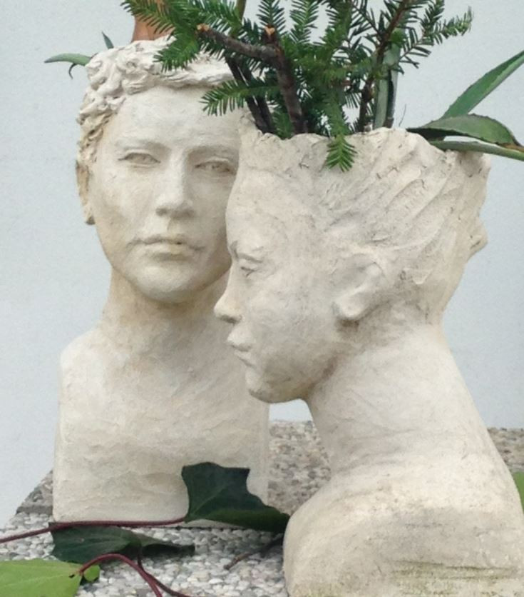 sculptured head succulent planters