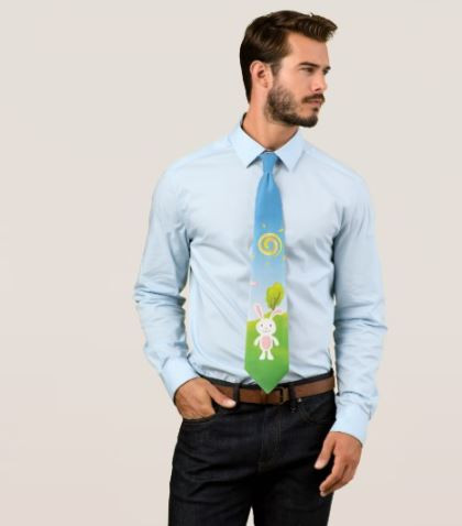 Cute Spring Bunny Happy Easter Tie