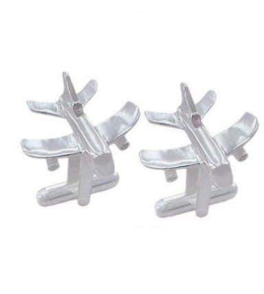 silver airplane cufflinks