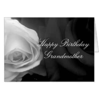 Black and White Rose Grandmother Birthday Card
