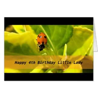 Lady Bug Cute Little Girls Birthday Card