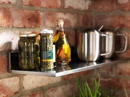 silver kitchen shelf