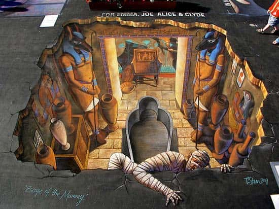 3d street art mummy