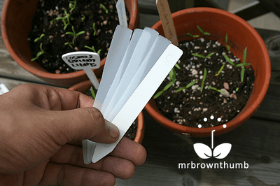 Homemade plant labels from recycled plastic jugs