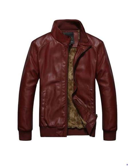 Mens swag red leather jacket