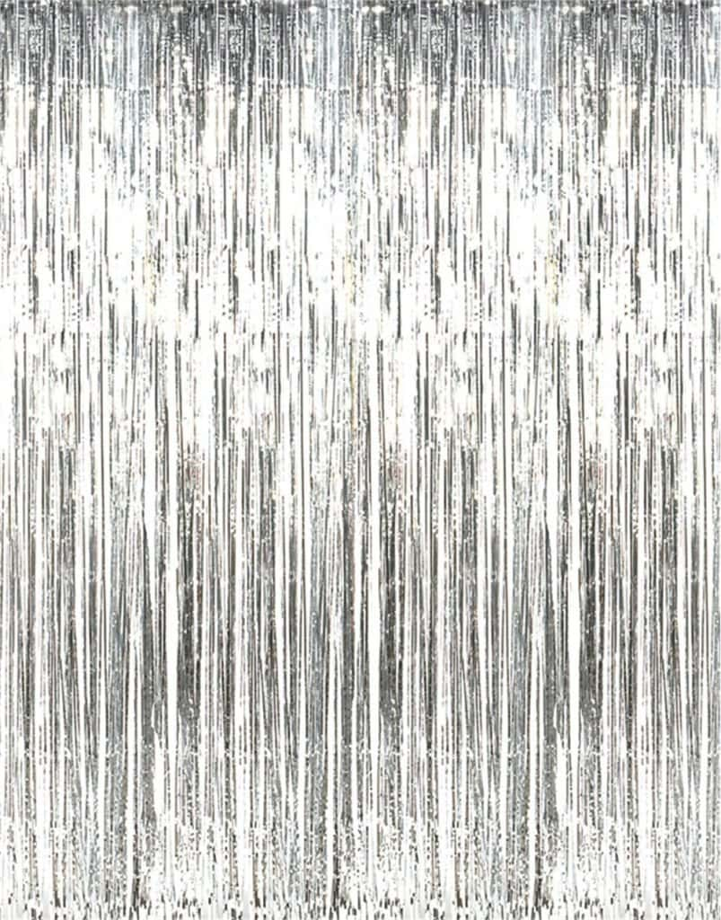 Silver foil party curtains