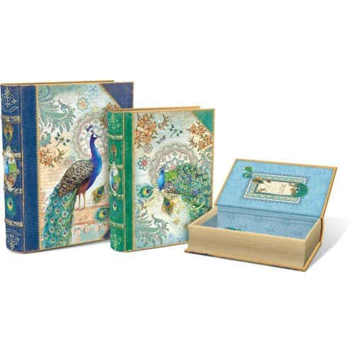peacock nesting book boxes