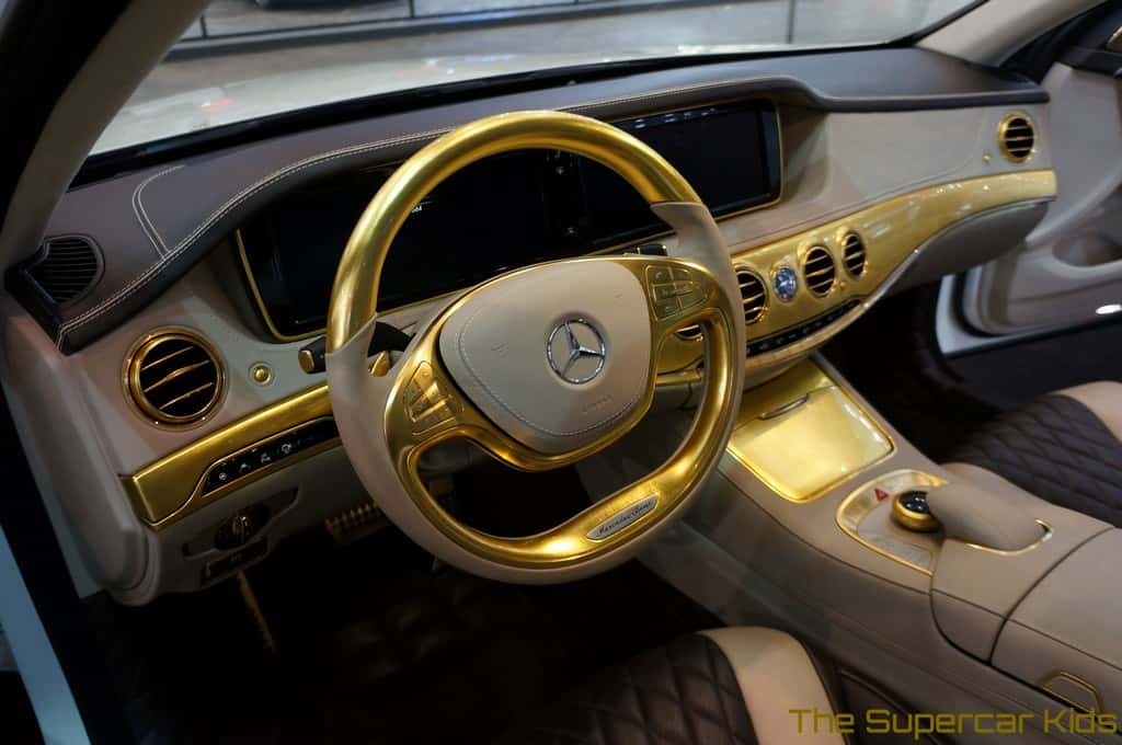 gold car interior