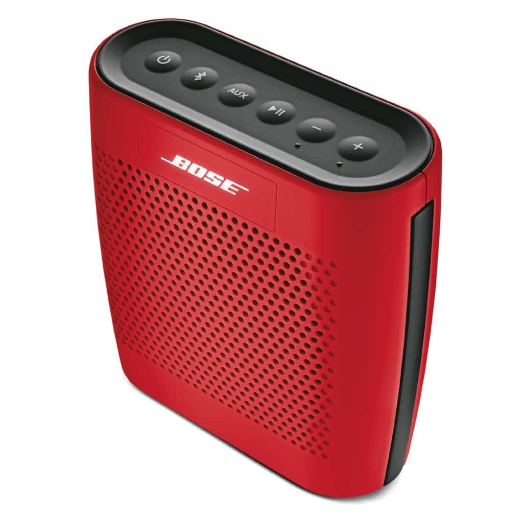 red portable speaker