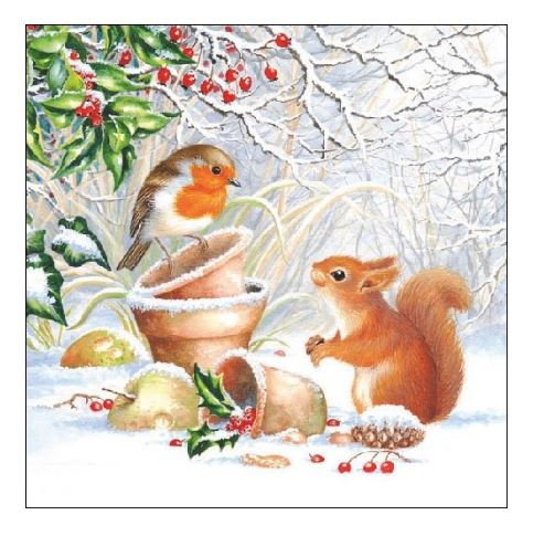 snow squirrel napkins