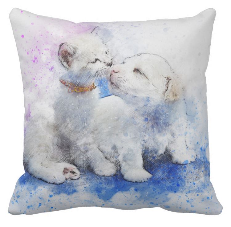 puppy and kitten cushion