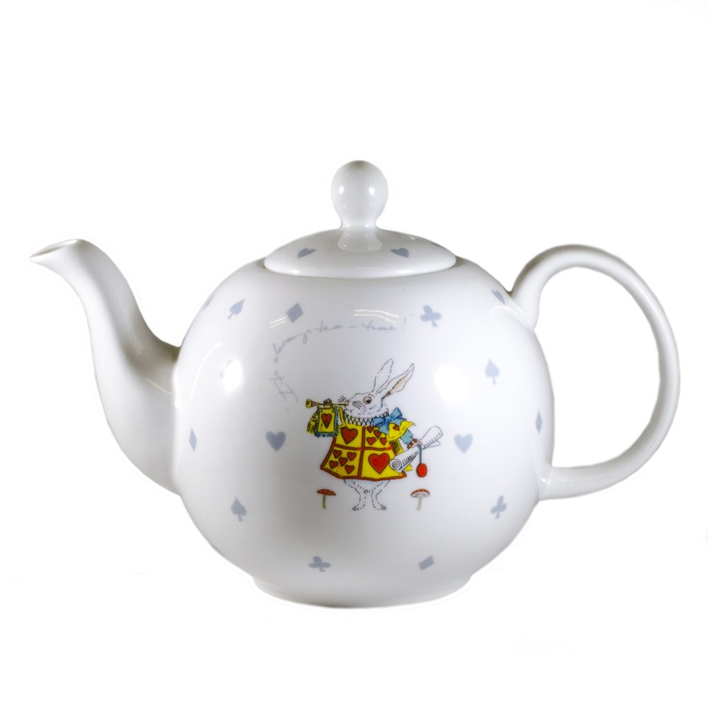 white rabbit teapot