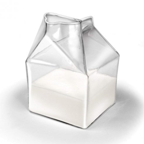 glass milk carton server