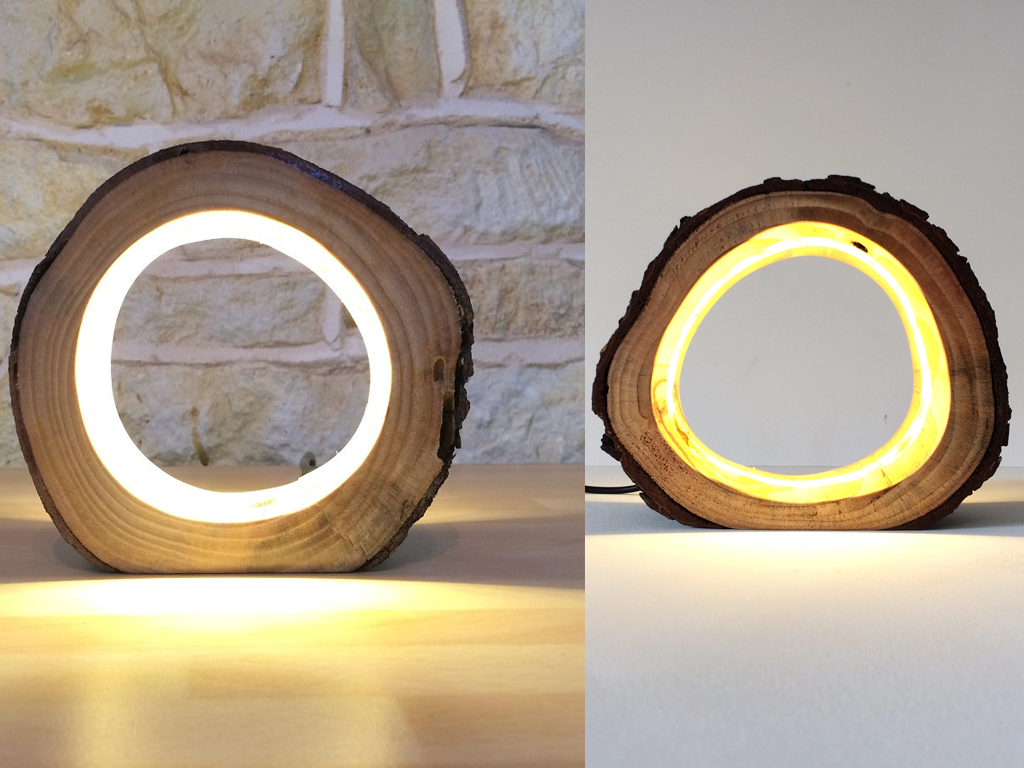 rustic log lamp