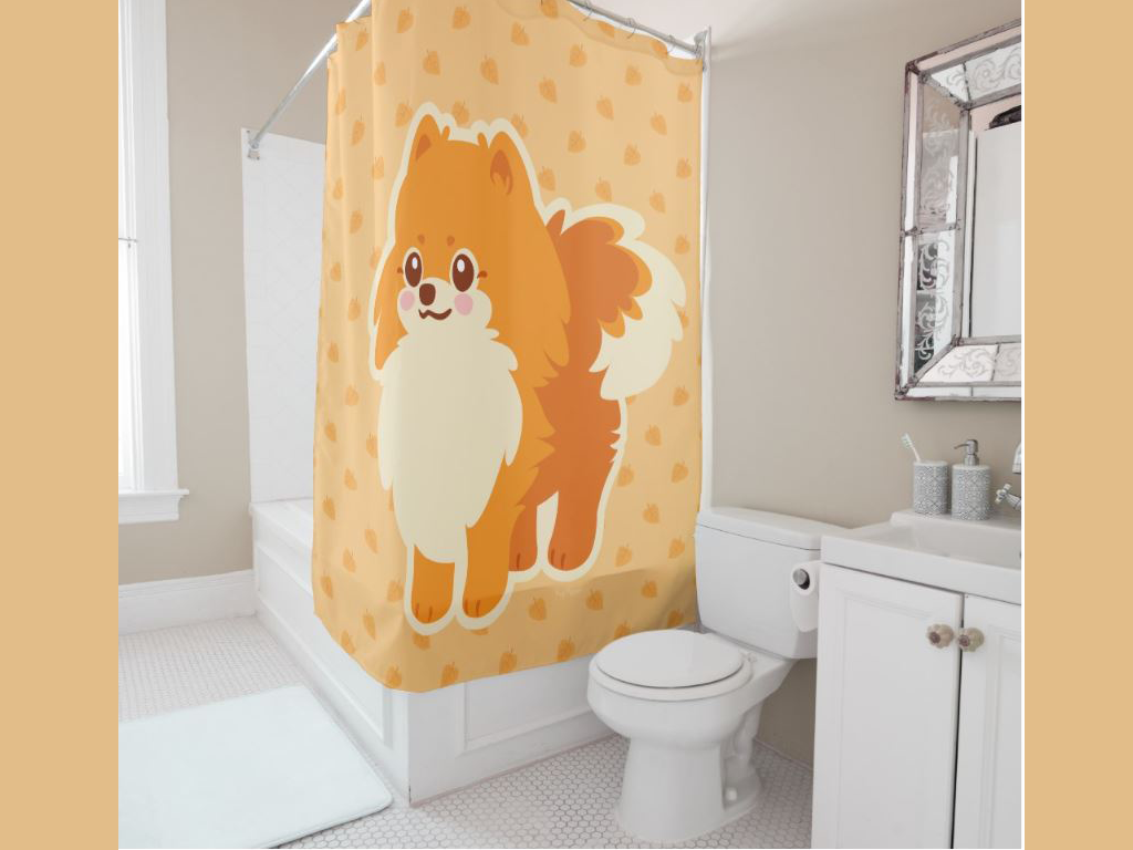 puppy shower curtain cute