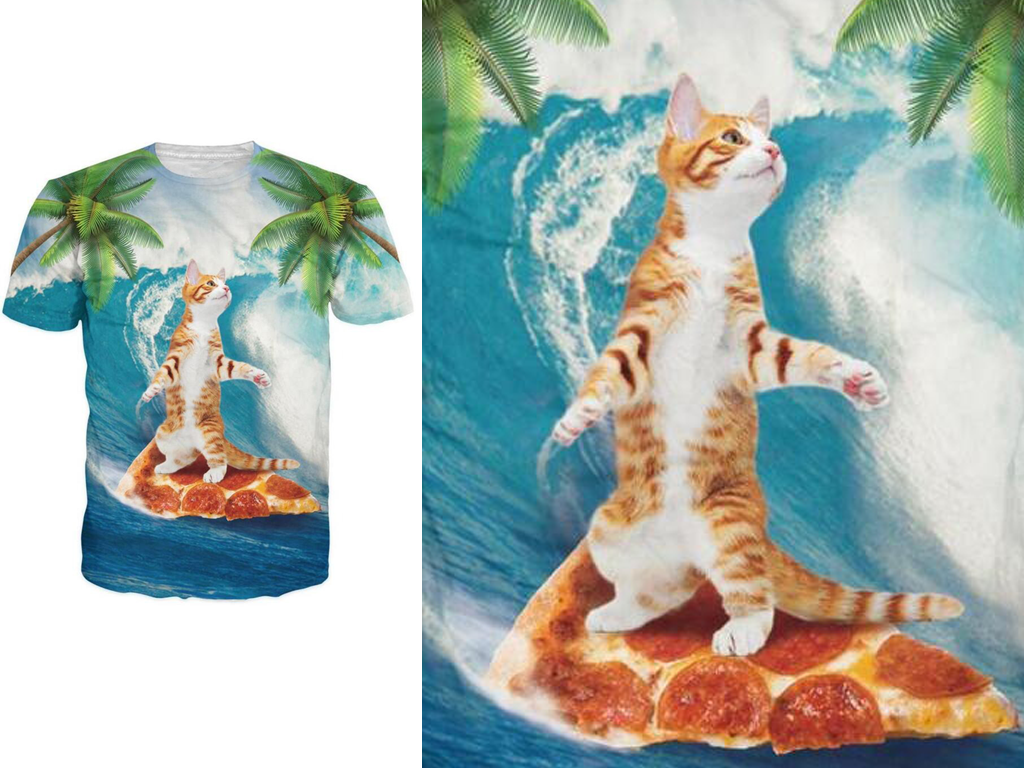 Cat Surfing On Pizza Shirt