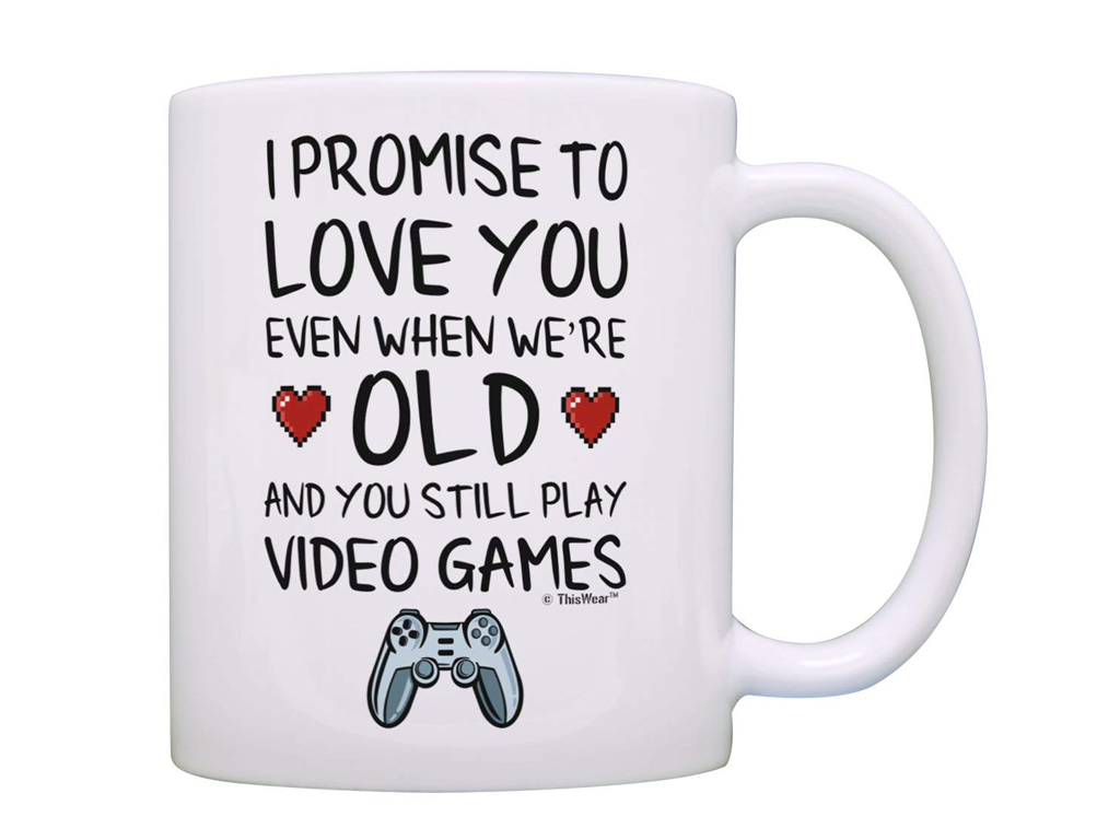 This promise of love quote for a gamer mug is great because it's funny and romantic. True love is forever and this mug features a cute sentiment that is sure to touch the heart of any gamer.