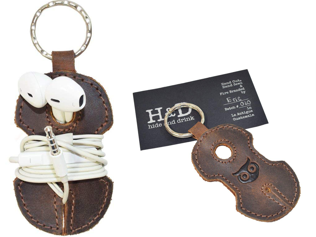 Leather Keyring Headphone Holder
