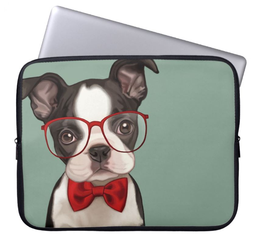 Cool Things For Your Home Office   Cute Boston Terrier Laptop Sleeve