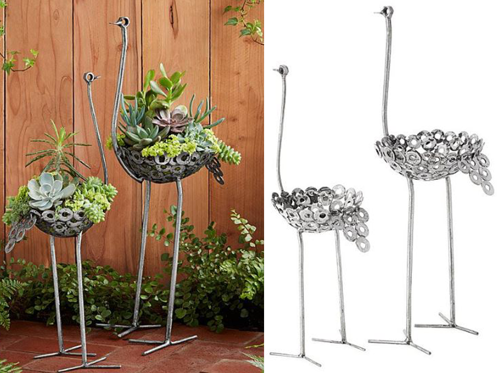Delightful Recycled Metal Ostrich Planters