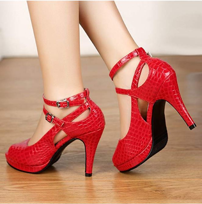red snake patterened shoes
