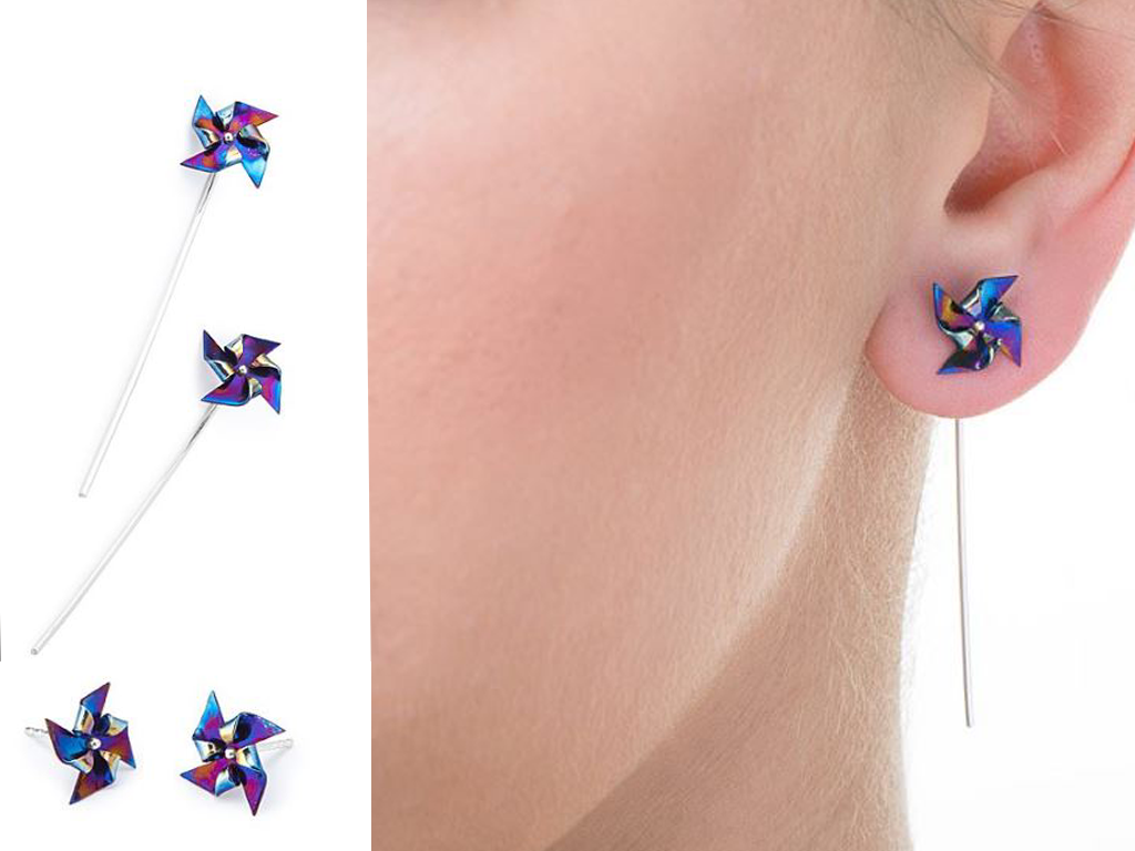 Miniature Pinwheel Spinner Earrings