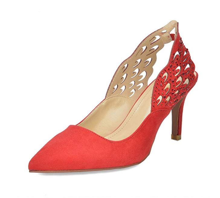winged pumps red