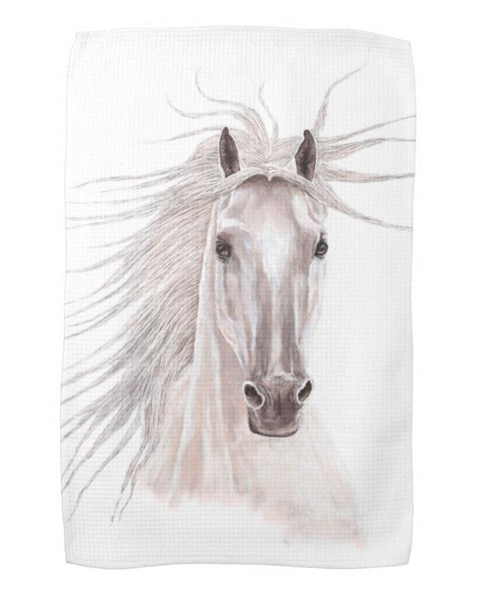 white horse kitchen towel