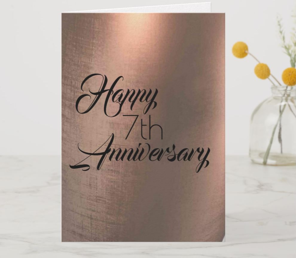 7th anniversary copper print card