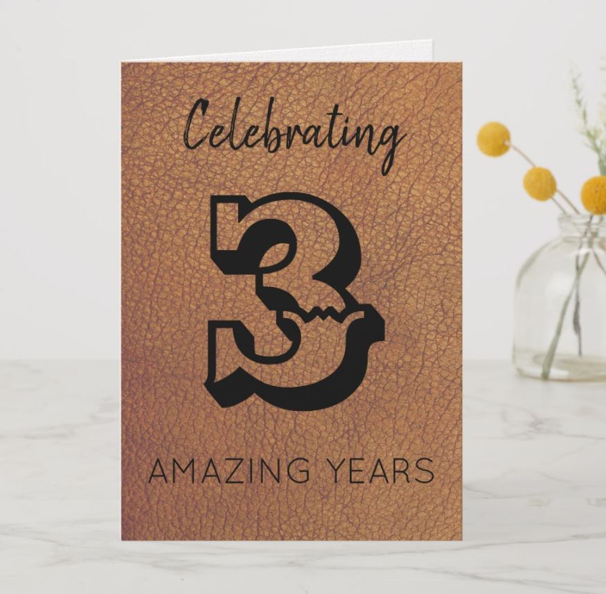 third anniversary card