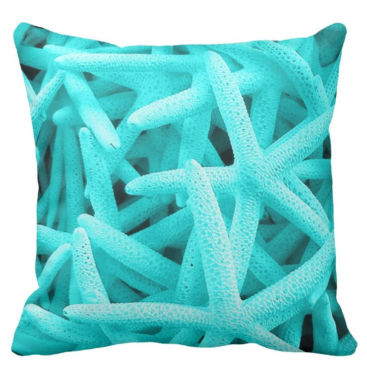 blue starfish cushion