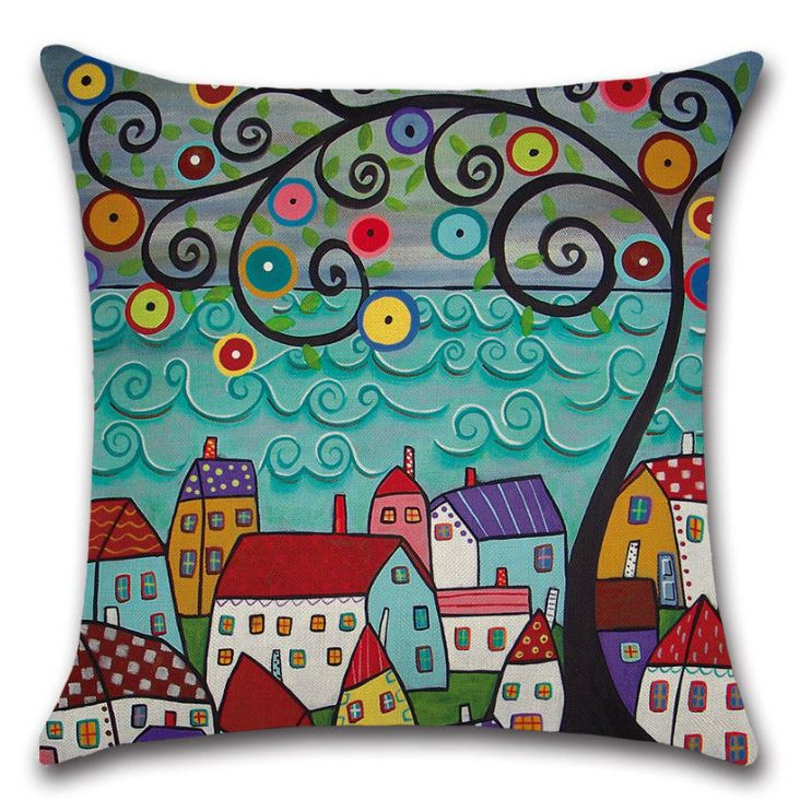10 Decorative European Scene Building Cushions
