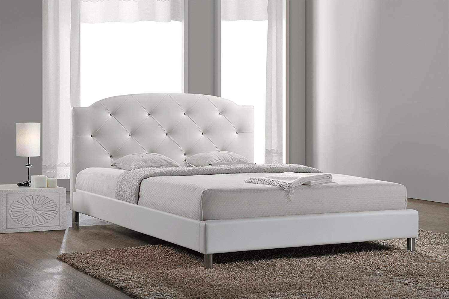 white leather queen bed