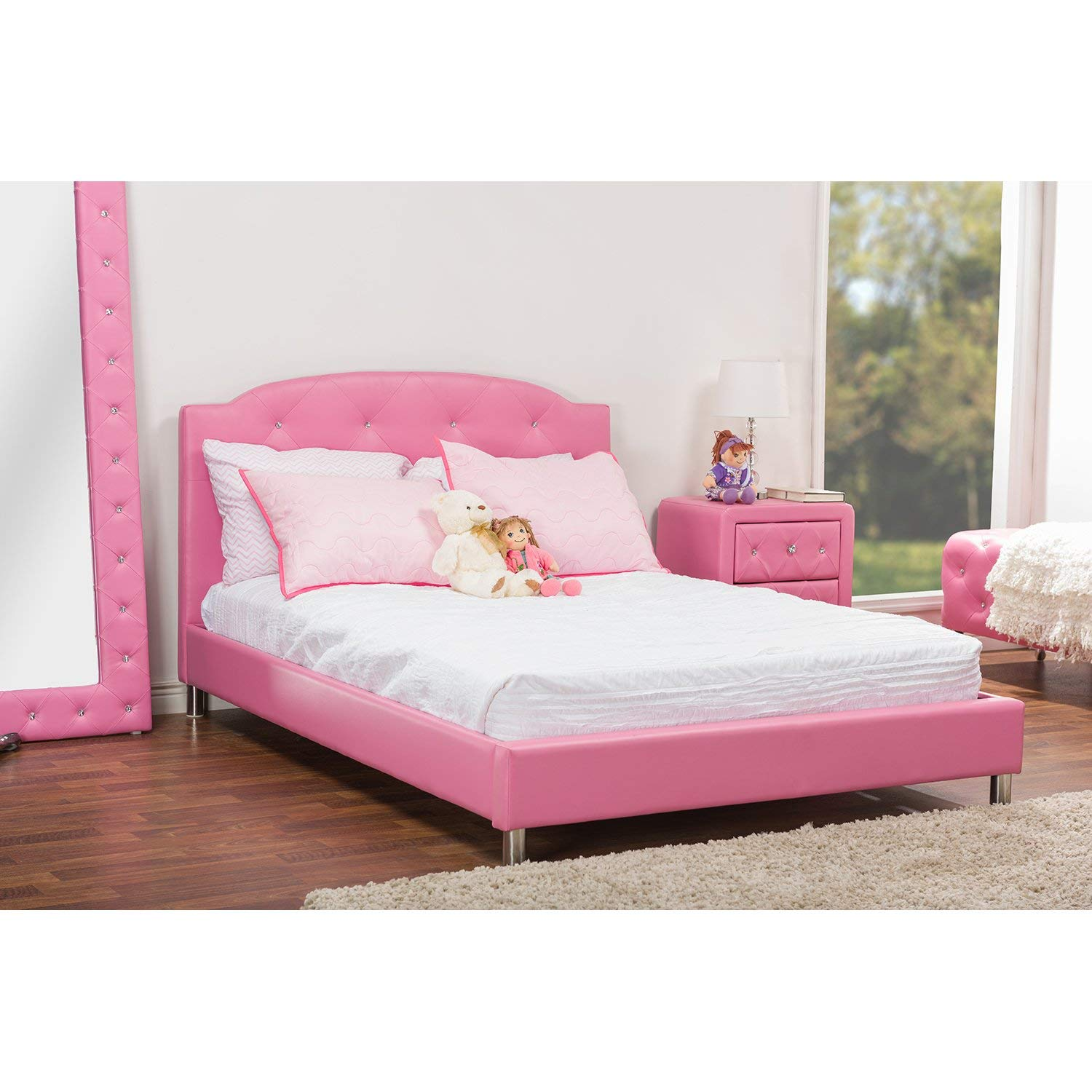 pink leather bed
