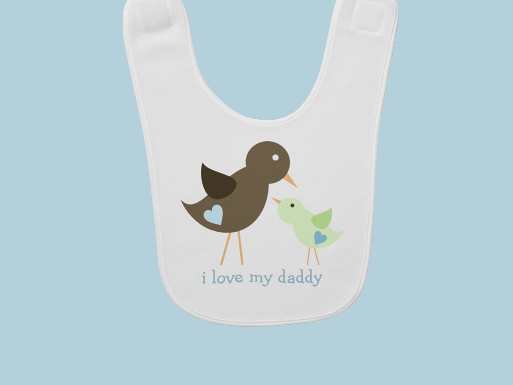 Adorable Birds I Love My Daddy Bib