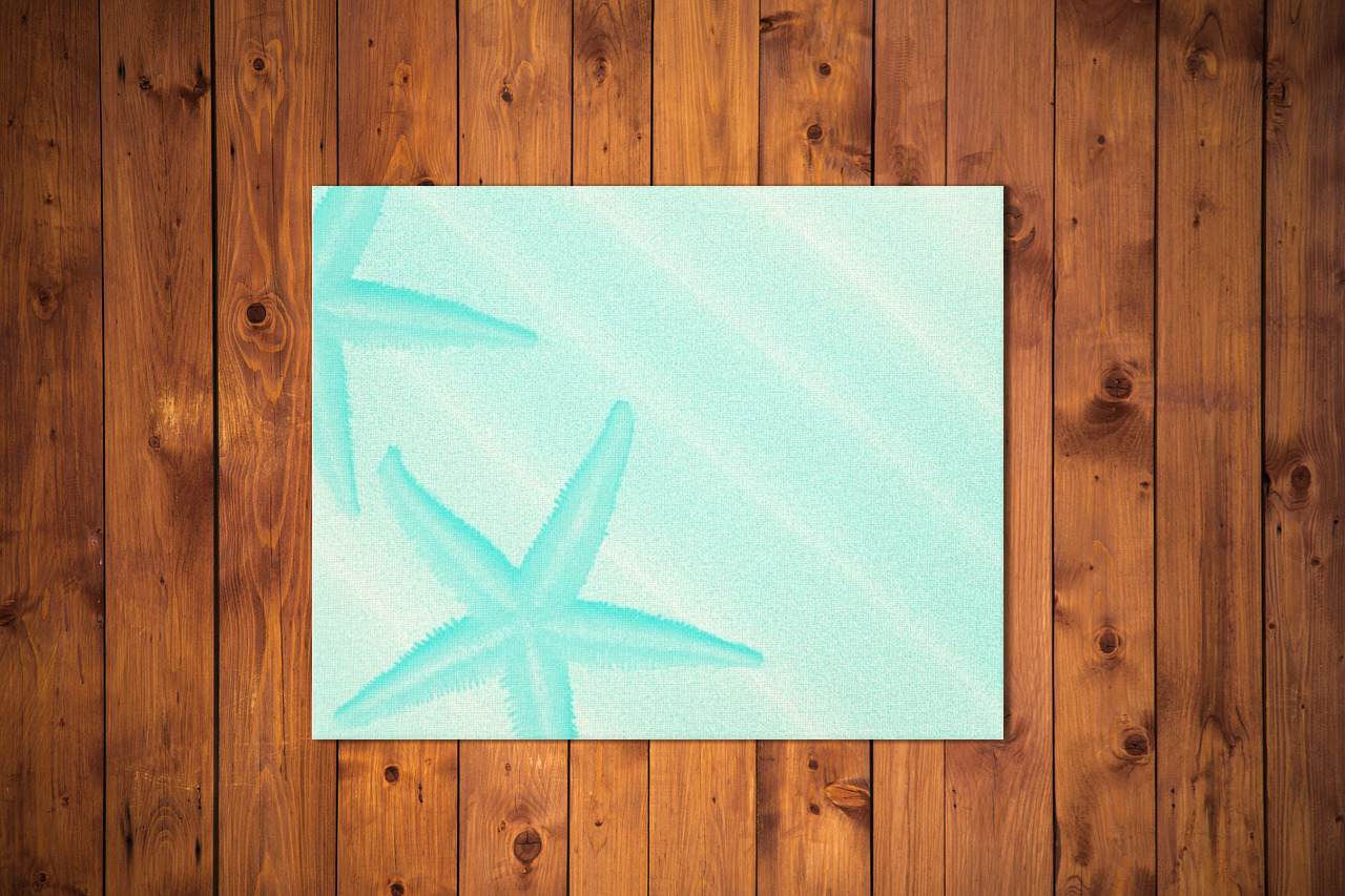 starfish art print blue
