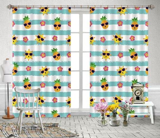 fun pineapple curtains