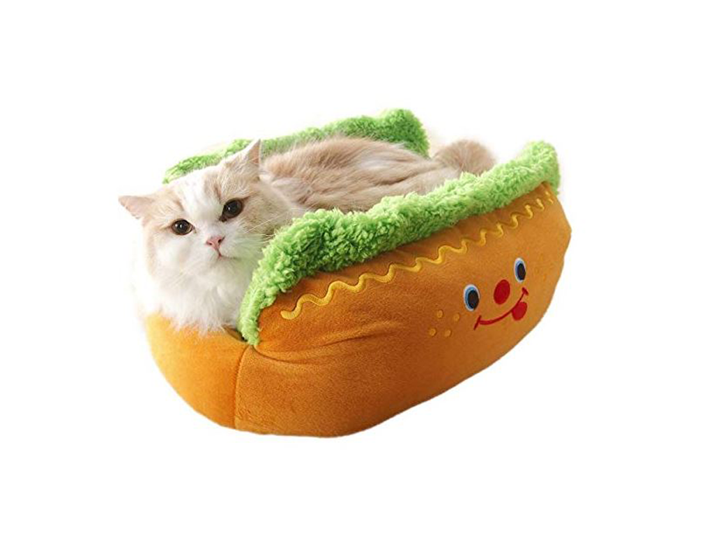 Adorable Plush Hot Dog Pet Bed