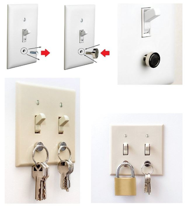Magnetic Key Holder For Light Switch Panels