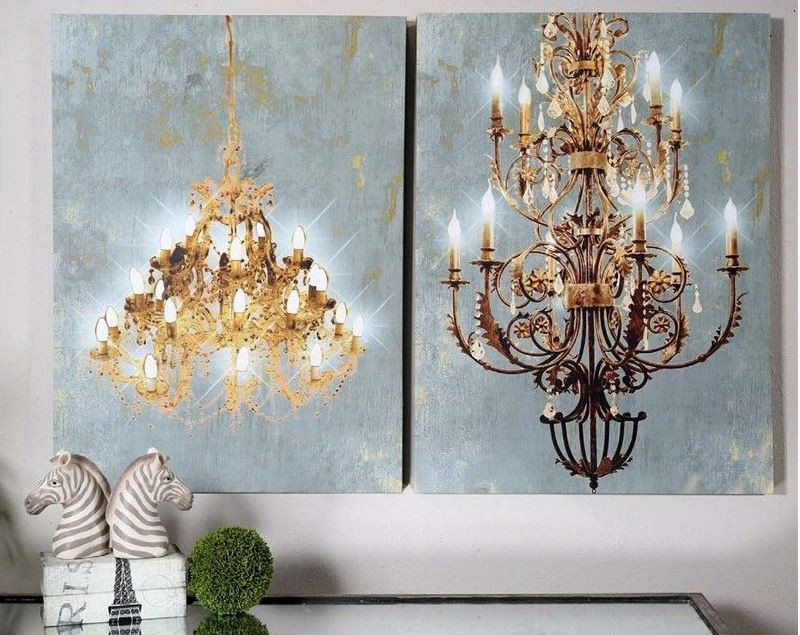 Chandelier Wall Art Canvas Set With Built In LED Lights