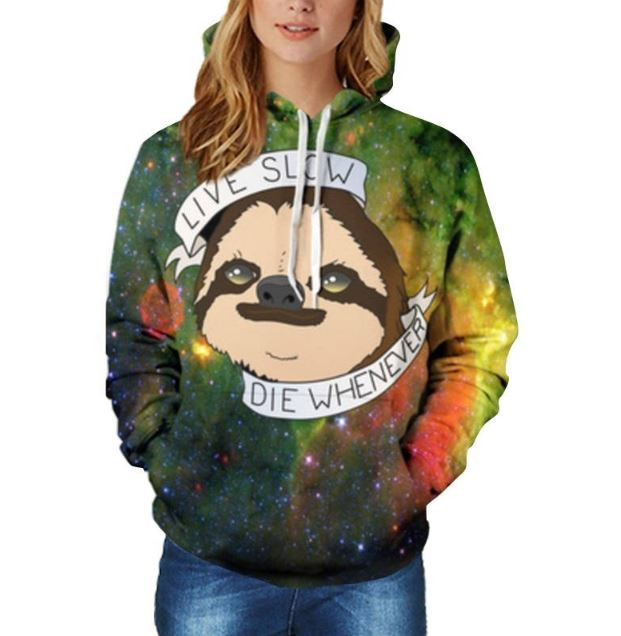 Live Slow Die Whenever Cool Sloth Hoodie