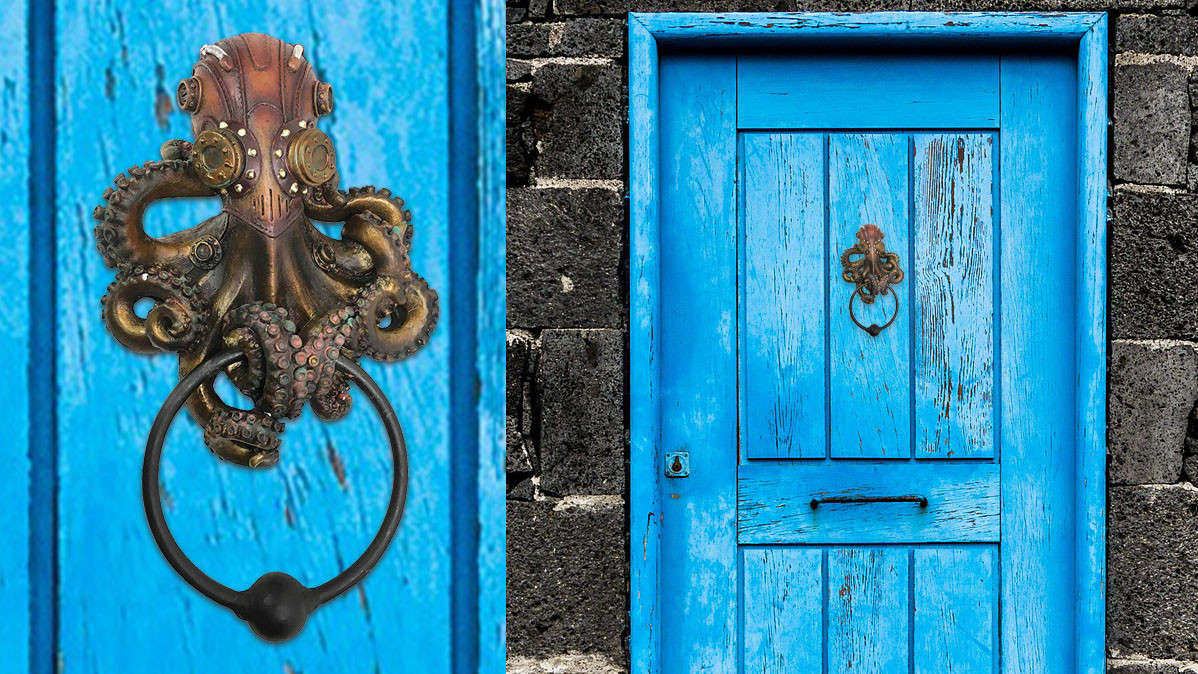 Cool Nautical Steampunk Sci-fi Octopus Door Knocker