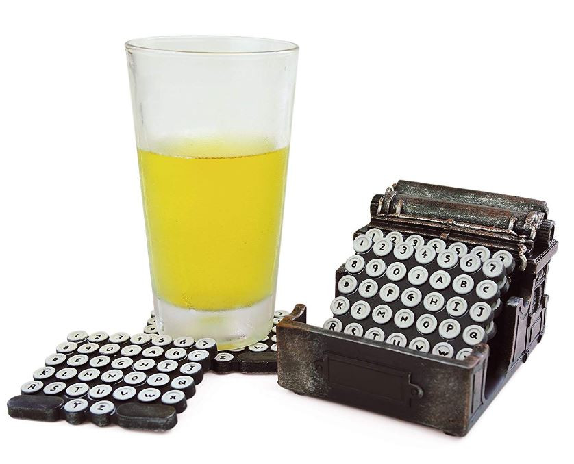 Chic Modern Retro Typewriter Coaster Set