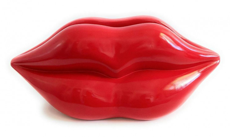 Funky and Fun Bright Red Lips Vase or Planter