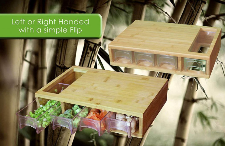 Antimicrobial Bamboo Cutting Board With Drawers