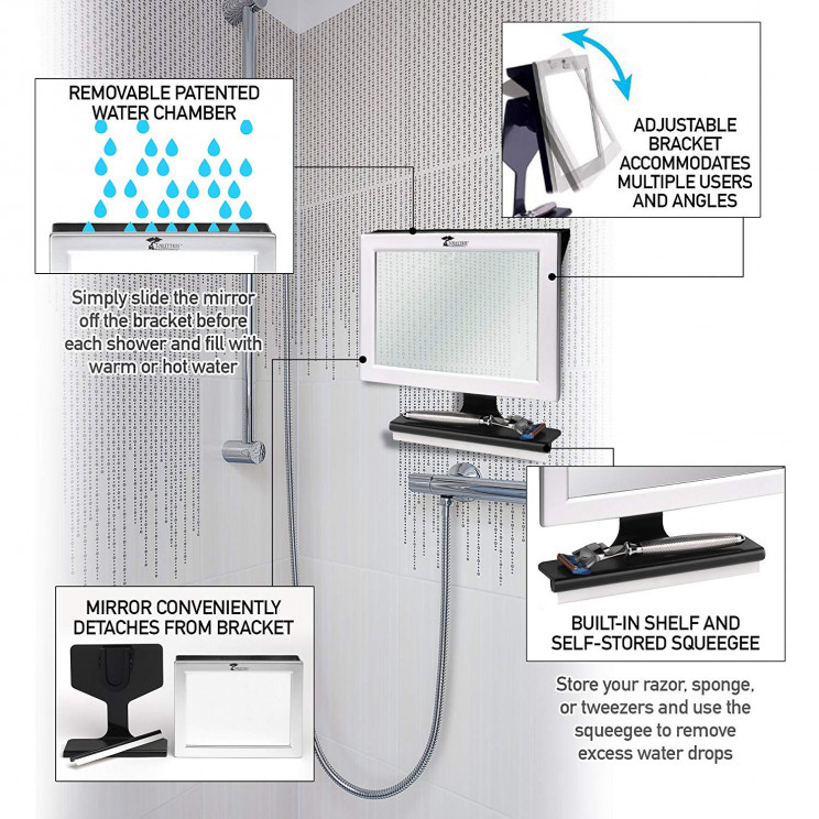 Fogless Shower Mirror For Shaving With Squeegee